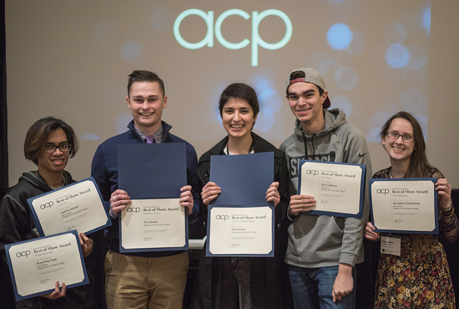 Pictured left to right: Andrew Kicmol, Ethan Maurice, Megan Binkley, Max Goldberg, and Alexandra Christensen
