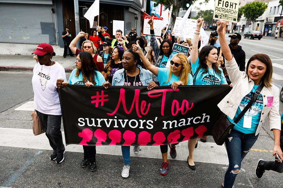 Sexual assault survivors along with their supporters at the #MeToo Survivors March against sexual abuse Sunday, Nov. 12, 2017 in Los Angeles, Calif.