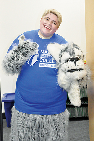 Adrienne Oliva, The Clarion's editor-in-chief, spent a day as Wolfie, the college's mascot and enjoyed the experience.