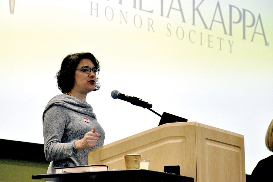 State Rep. Melissa Sargent speaks recently at an event at Madison College that was sponsored by Phi Theta Kappa.