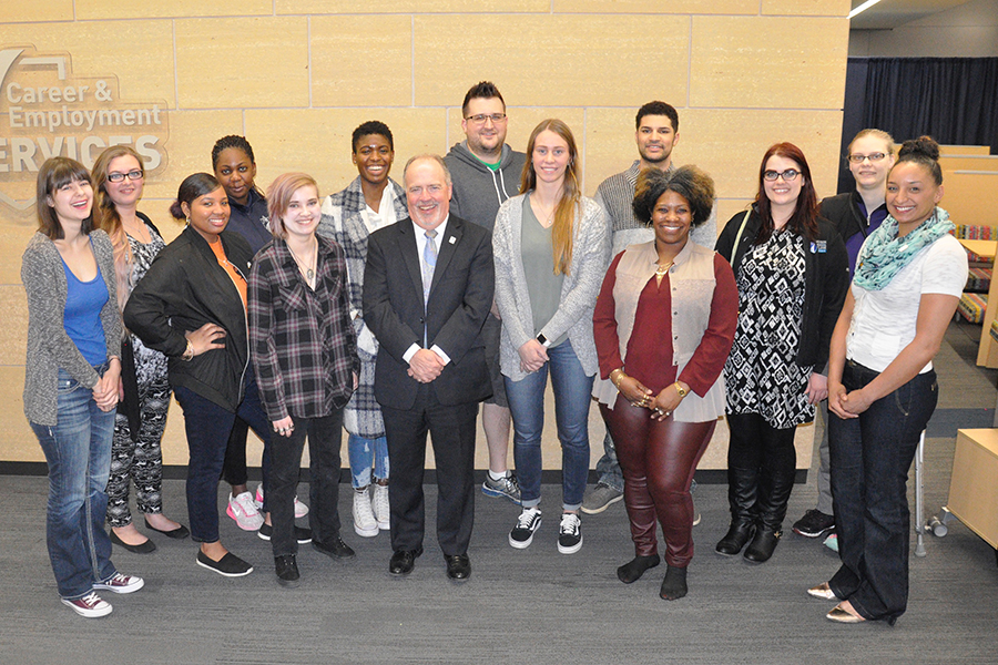 Keith Cornille is the seventh from the left, and is pictured with the Student Activities Board.