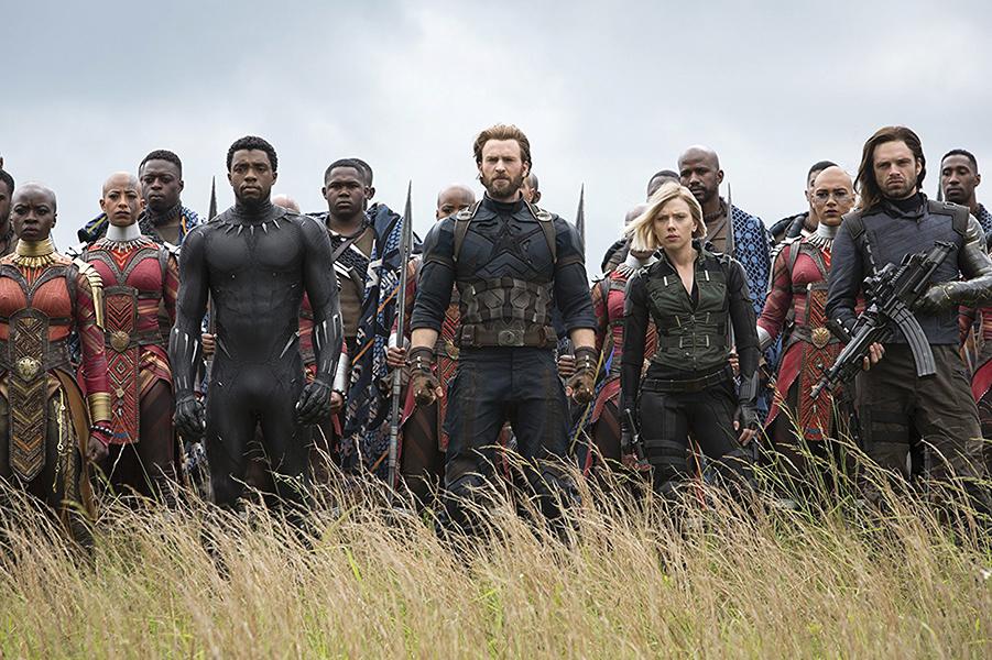"Chris Evans, Scarlett Johansson, Chadwick Boseman, Sebastian Stan, Danai Gurira, Marie Mouroum, and Winston Duke in ""Avengers: Infinity War."""