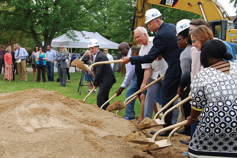 Madison+College+President+Dr.+Jack+Daniels+is+joined+by+dignitaries+at+the+South+Campus+groundbreaking+on+June+11.