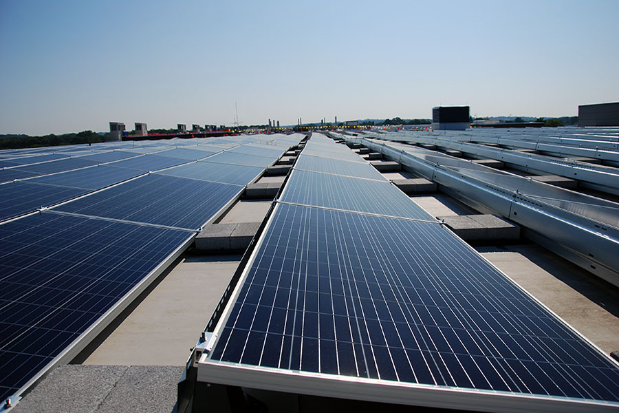 Solar panels are now being installed on the rooftops of the main Truax Campus buildings.