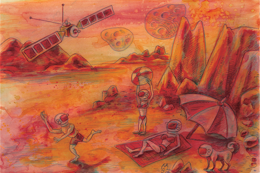 Illustration by Michael Edwards envisioning water on Mars.