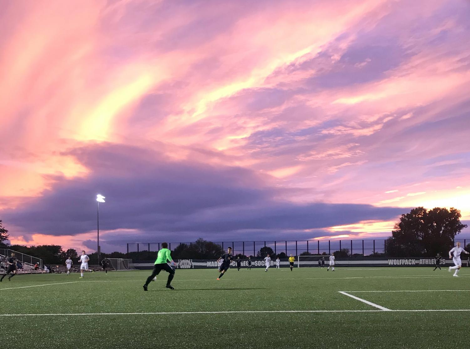 The rainy weather ended just in time for the Madison College men's soccer team's game against Rock Valley College on Sept. 5.