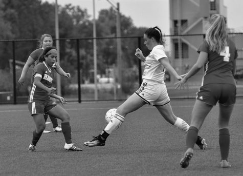 soccer player Britt Schumann lines up the shot