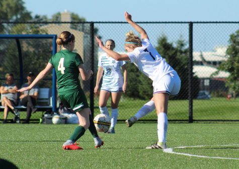 Madison College's Breanna Griffin kicks the ball away from an opponent