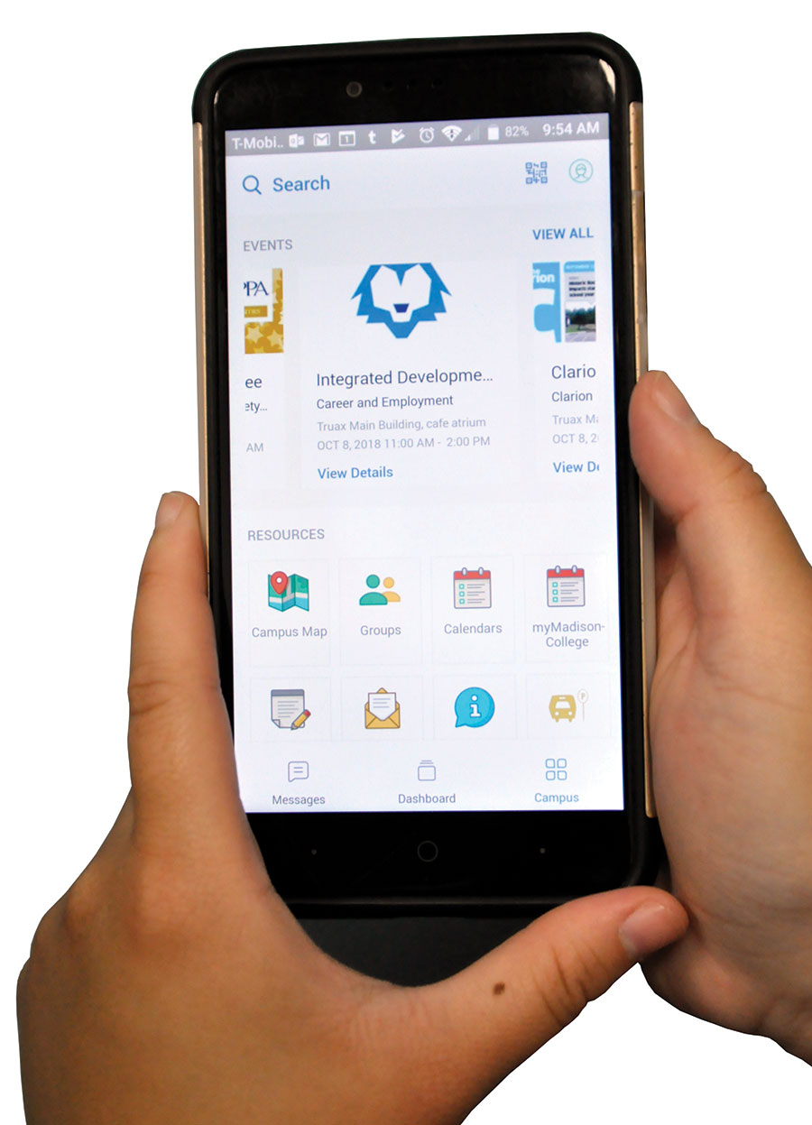 The new WolfPack Connect App is shown on a student's phone. Madison College is utilizing the new phone app to help students gain easier access to resources and to connect with clubs and student groups.