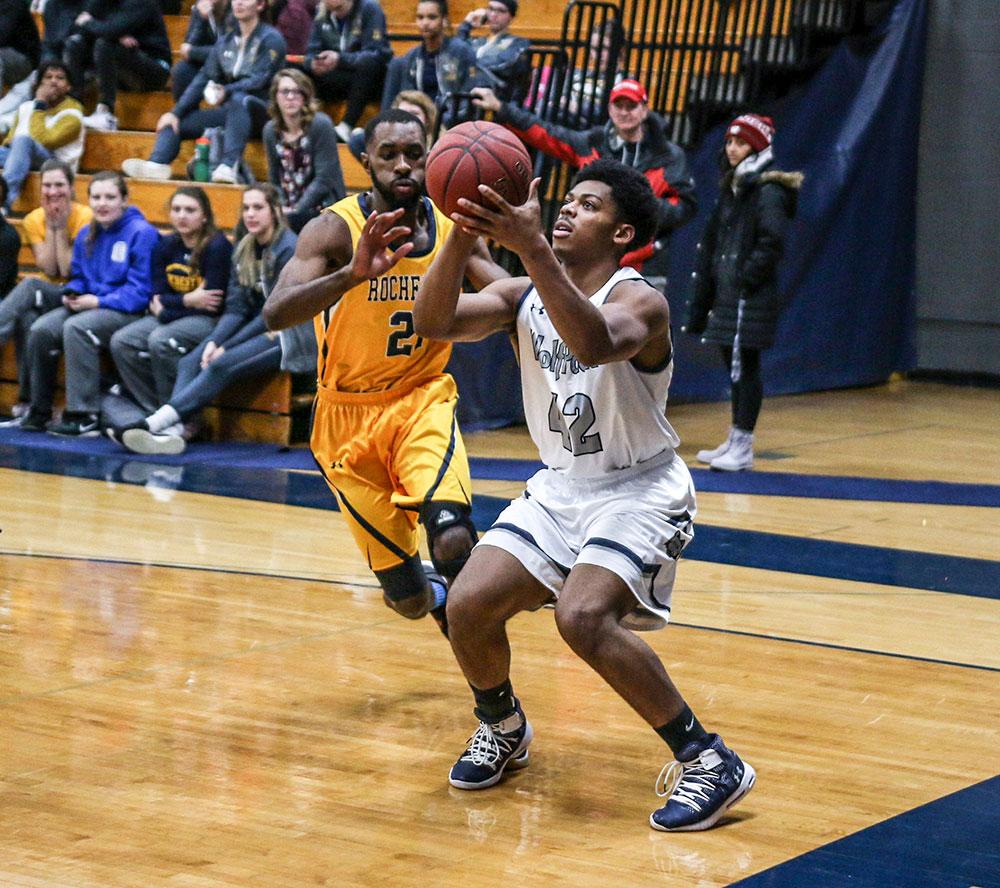 Madison College men's basketball player DeAngelo Jones sets up for a shot against Rochester Community College on Nov. 20.