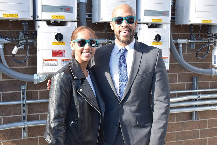 Managing Editor Amara Gobermann, left, gets a photo with Lt. gov. Mandala Barnes after an event celebrating Madison College's rooftop solar array earlier this semester