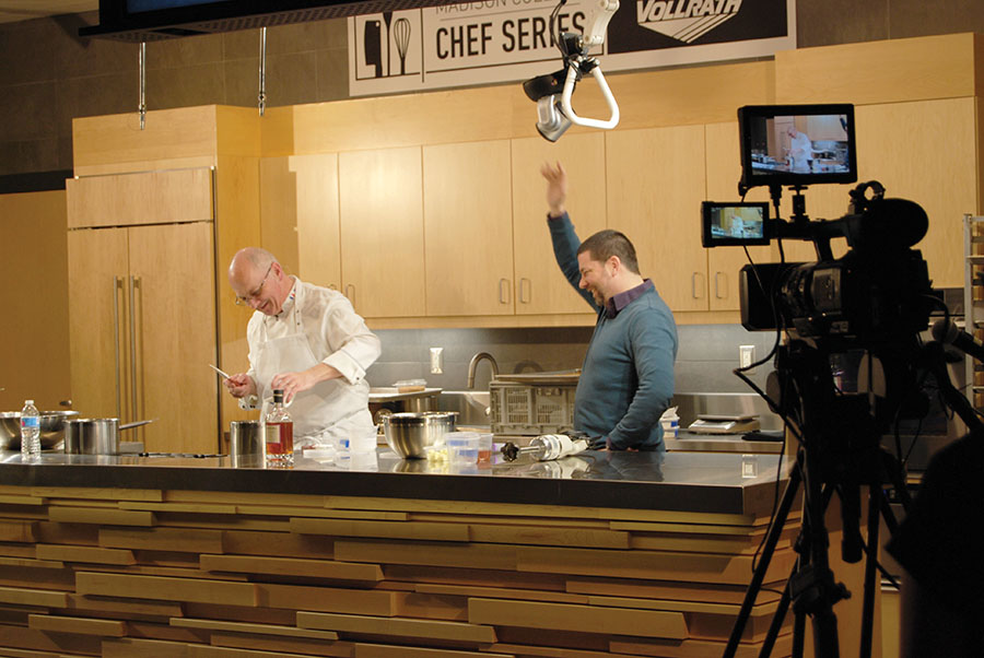 Pierre Zimmerman, left, a master baker from Chicago, joins Kyle Cherek at the Jan. 24 Chef Series Event at Madison College