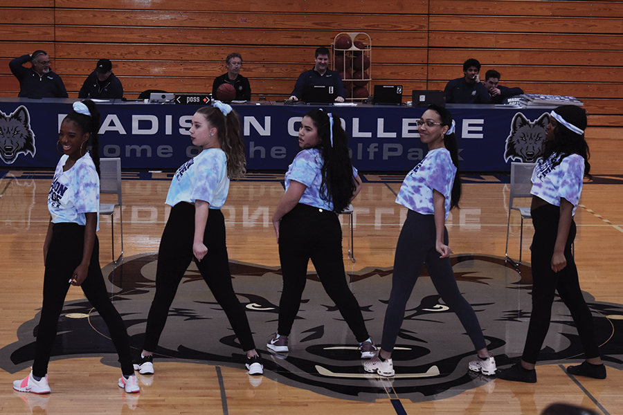 The WolfPack Diamonds performed at halftime of the basketball games on Feb.16