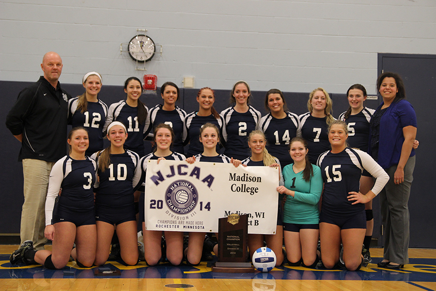 The Madison College volleyball team poses for a photo after winning the 2014 NJCAA Division III title. The team was recently selected for the NJCAA Region IV Hall of Fame.