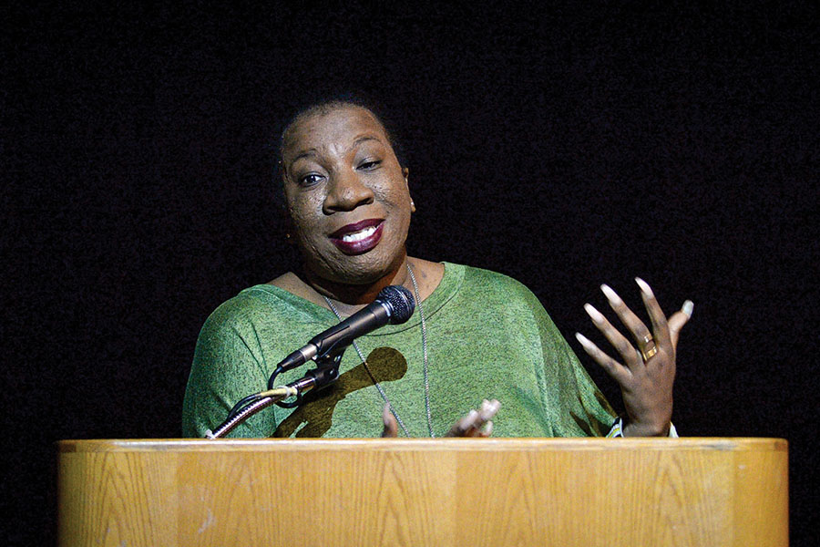 Tarana Burke, a founder of the #MeToo movement, speaks during a public event about empowerment and advocacy at Fresno State's Satellite Student Union on Wednesday, Feb. 6, 2019.