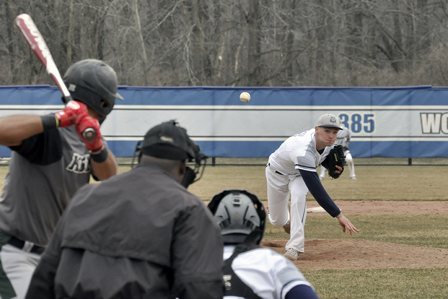 Madison College pitcher Matt Hamilton delivers a pitch to a Kishwaukee opponent during their home opener on March 27. The WolfPack swept the doubleheader, 10-0, and 3-0.