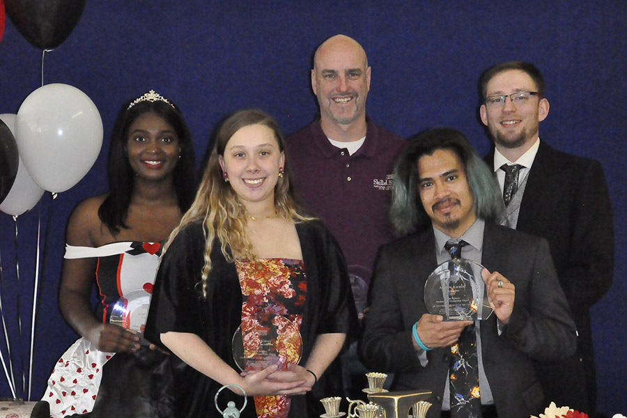 Karen Roberts Student Life Leadership Award winners were, from left, Aminata Sowe, Deyshia Kinsey, Tim Myers, Andrew Kicmol and Steven Ansorge