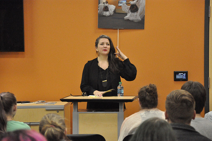 Poet Marty McConnell was the featured reader at a Yahara Journal event held in the Intercultural Exchange in April