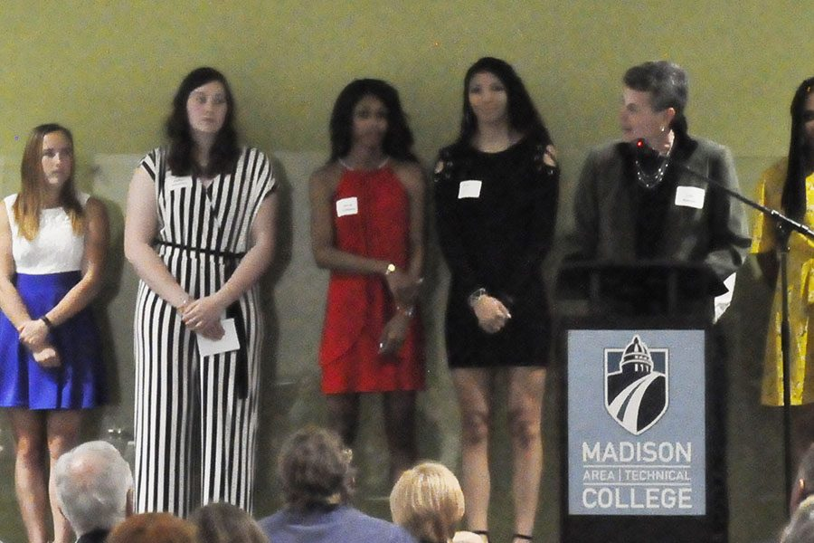 Madison+College+women%E2%80%99s+basketball+coach+Lois+Heeren+introduces+her+team+during+the+annual+athletic+banquet+on+April+24.