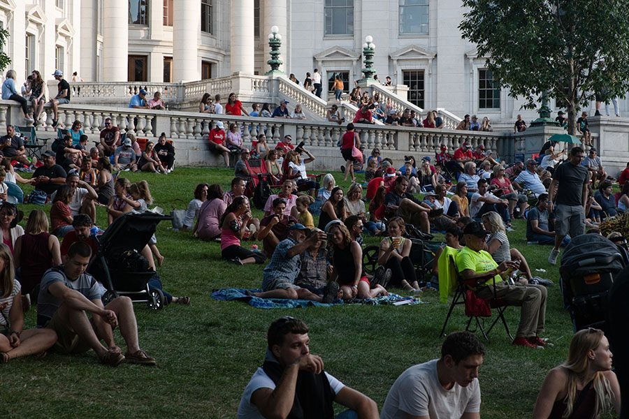 A crowd waits for a band to begin playing at the annual Taste of Madison event.
