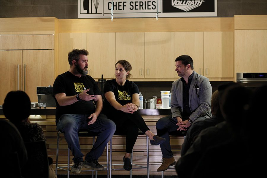 Josh+Kulp%2C+left%2C+and+Christine+Cikoski%2C+center%2C+were+the+presenters+at+the+latest+Chef+Series+event.