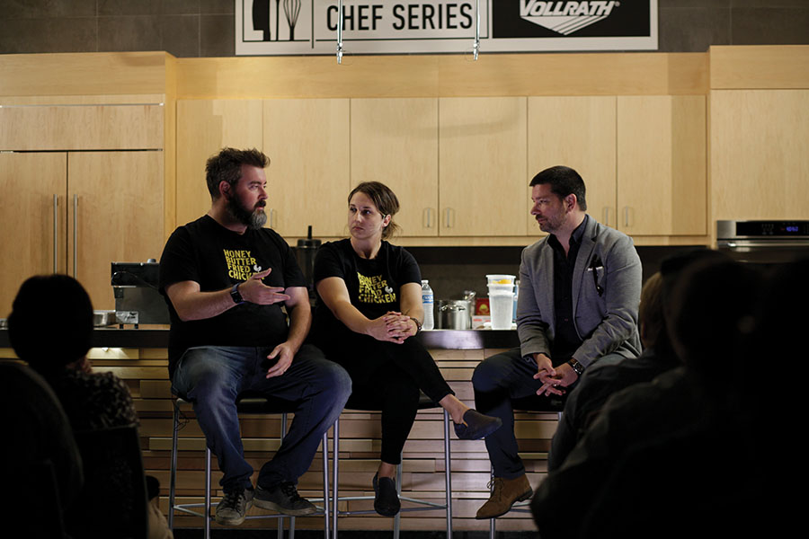 Josh Kulp, left, and Christine Cikoski, center, were the presenters at the latest Chef Series event.