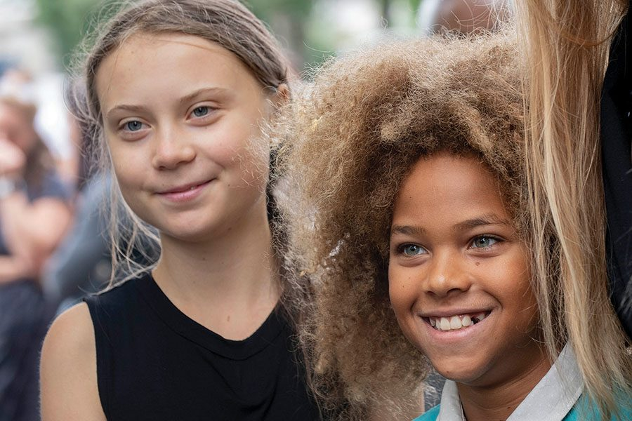 Swedish+climate+change+activist+GRETA+THUNBERG+and+LEVI+DRAHEIM+stand+with+other+youth+climate+activists+on+Sept.+17