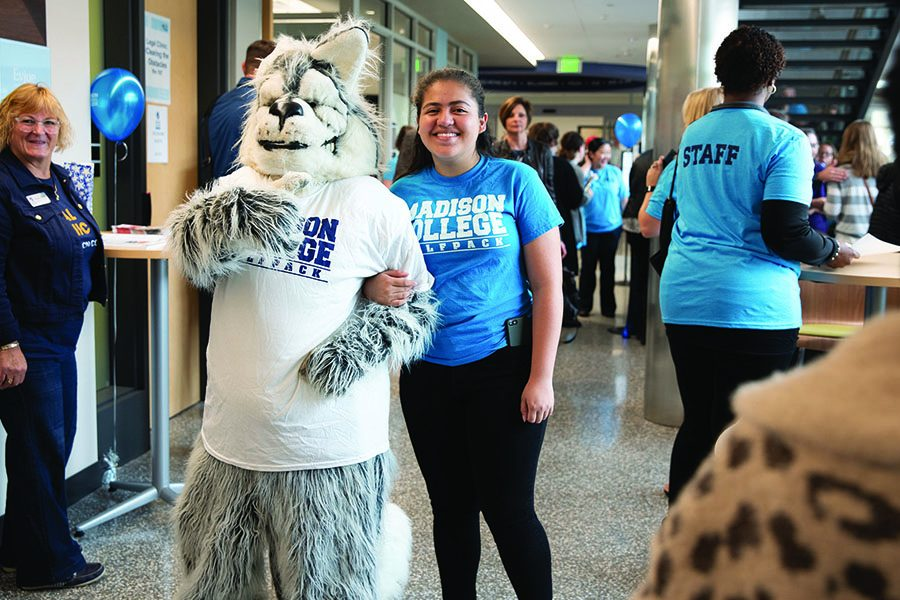 Wolfie%2C+the+Madison+College+mascot%2C+welcomed+guests+to+the+Goodman+South+Campus+dedication+ceremony+on+Sept.+28.