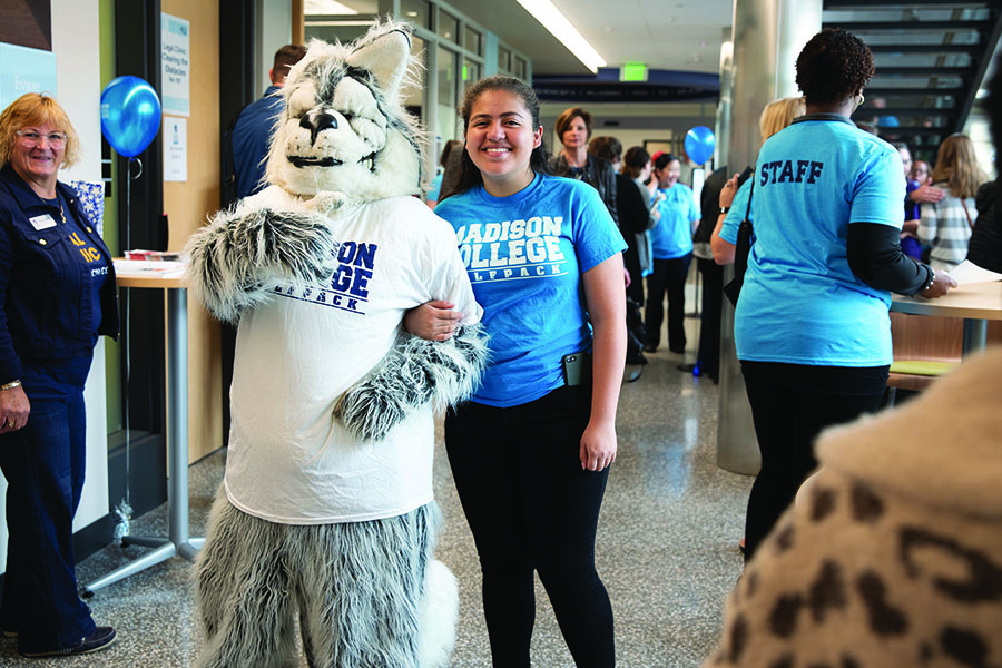 Wolfie, the Madison College mascot, welcomed guests to the Goodman South Campus dedication ceremony on Sept. 28.