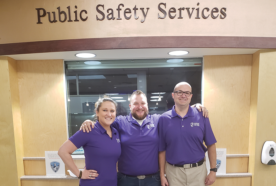 On each Friday in October, you will see some Public Safety staff, in partnership with the Dean of Students office, wearing purple polo shirts in recognition of Domestic Abuse Awareness Month. Seen here are Deputy Director Joseph Steffen, center, and Madison College Public Safety dispatchers Sabra Ablakovic and Paul Collins wearing purple to bring awareness to this very serious issue.