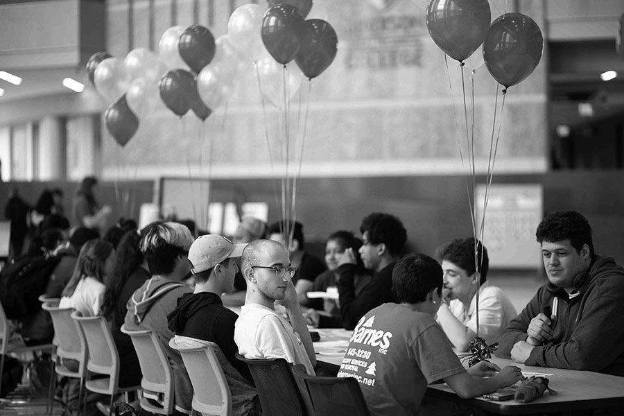 Students meet in the Truax Campus Gateway as part of the Programs and Activities Council's first-ever Spreed Friending event
