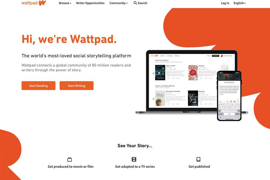 Screenshot of Wattpad's front page