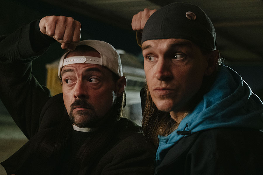 "Jay (right) and Silent Bob (left) in the movie ""Jay and Silent Bob Reboot."""