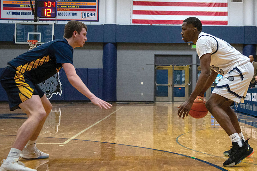 Madison College's Shamar Newman, right, prepares to drive past a Rock Valley College defender during a recent game.