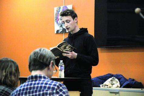 "Edgar Kunz reads from his book ""Tap Out"" in the Intercultural Exchange at the Truax Campus, Room C1430. The event was sponsored by the Yahara Journal."