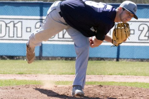 Madison College pitcher Jackson Brown is shown during a game from the 2019 season. The WolfPack baseball team got in four games before the season was cancelled, winning one of them.