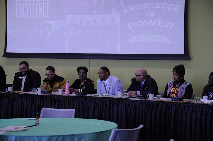 A+group+of+panelists+from+Madison+College+and+the+community+share+their+experiences+with+Historical+Black+Colleges+during+a+form+on+Feb.+27.