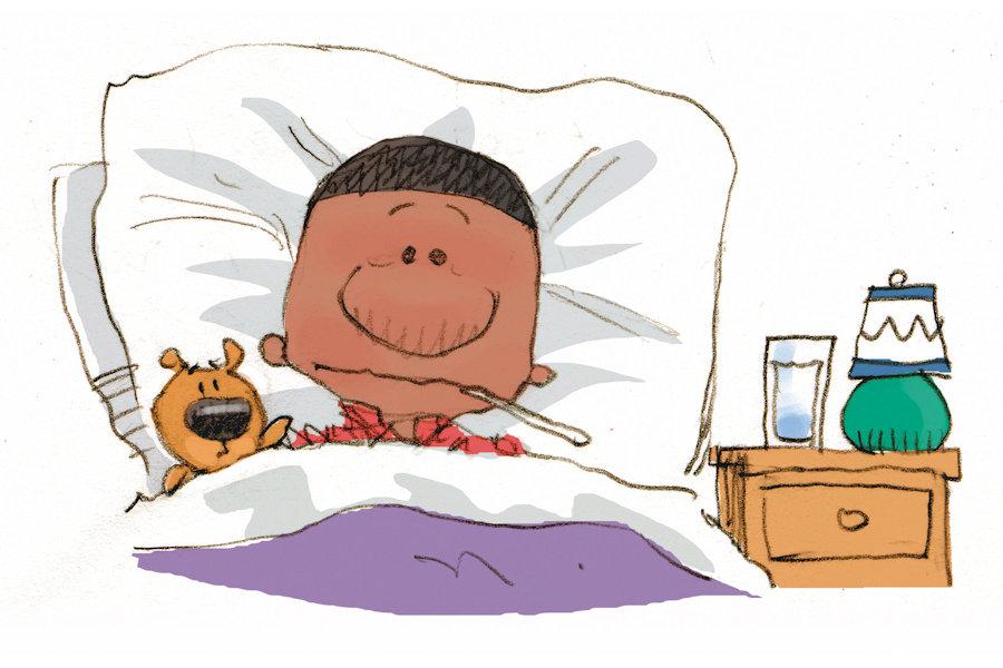 Chris Ware color illustration of flu-stricken boy in bed.