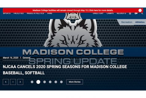 The front page of the Madison College athletic department's website announces the cancellation of the 2020 spring sports seasons.