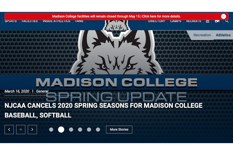 The+front+page+of+the+Madison+College+athletic+department%E2%80%99s+website+announces+the+cancellation+of+the+2020+spring+sports+seasons.