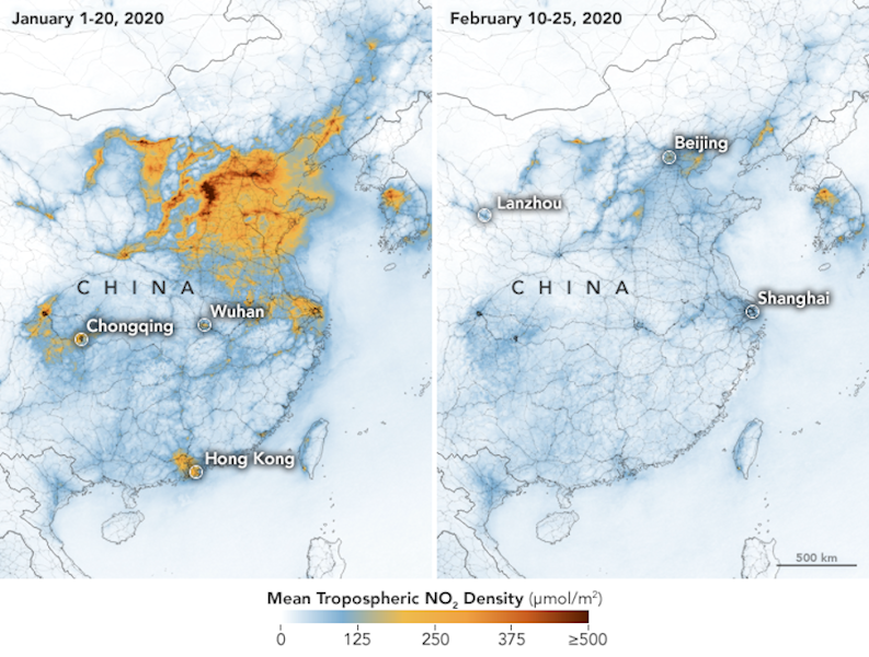 A NASA satellite images show a decrease in pollution in China.