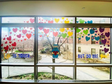Hearts decorate the windows of St. Mary's operating room in Madison.