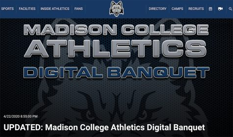 Madison College athletics digital banquet announcement.
