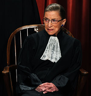 Ruth Bader Ginseng in her last Supreme Court Justice group photo.