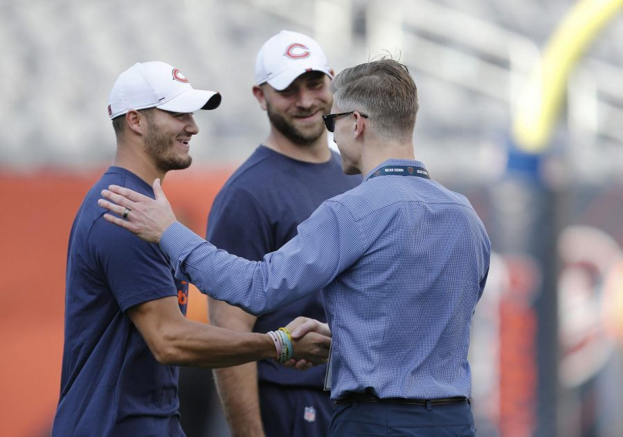Chicago Bears quarterback Mitchell Trubisky, far left, might be a great week 2 pickup for fantasy football fanatics. He is pictured with Kyle Long and General manager Ryan Pace of the Chicago Bears at Solider Field on Aug. 29, 2019.