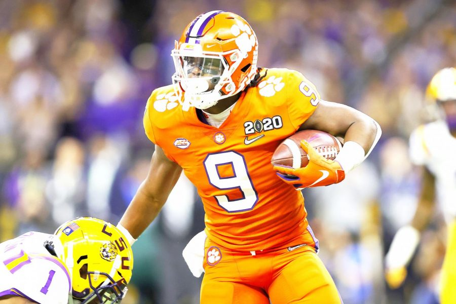 Travis+Etienne+%289%29+of+Clemson+runs+the+ball+against+LSU+during+the+first+quarter+in+the+College+Football+Playoff+National+Championship+game+at+Mercedes+Benz+Superdome+on+Jan.+13+in+New+Orleans%2C+Louisiana.