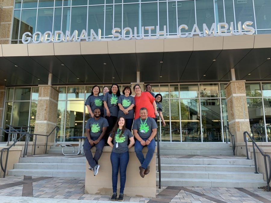 Valentina Ahedo (In red) poses with the administration staff of the Goodman South Campus.