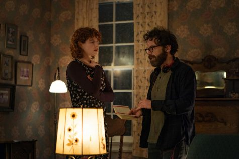 "Jessie Buckley with Charlie Kaufman on the set of ""I"