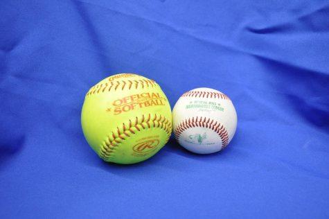 Size comparison of a softball next to a baseball.