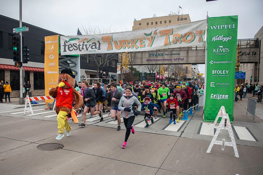Runners start the Festival Foods Turkey Trot in 2019 in Madison. This year, runners will participate